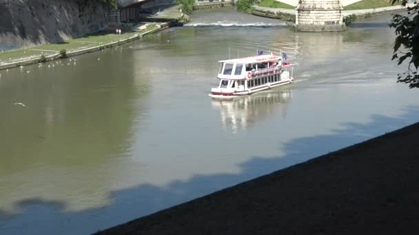 Italy, Rome, 16 May 2018, tourist boat for excursions on the Tiber river. (original file)