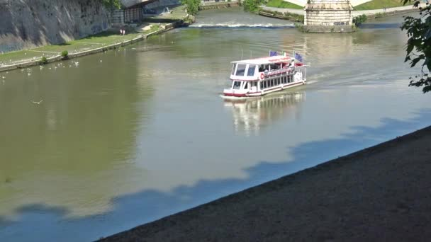 Italy, Rome,  tourist boat for excursions on the Tiber river.  10sec