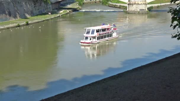 Italy, Rome,  tourist boat for excursions on the Tiber river.  26 sec