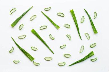 Sliced and leaves of fresh aloe vera on white background.