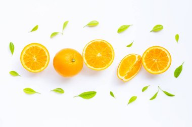 High vitamin C, Juicy and sweet. Fresh orange fruit with green l