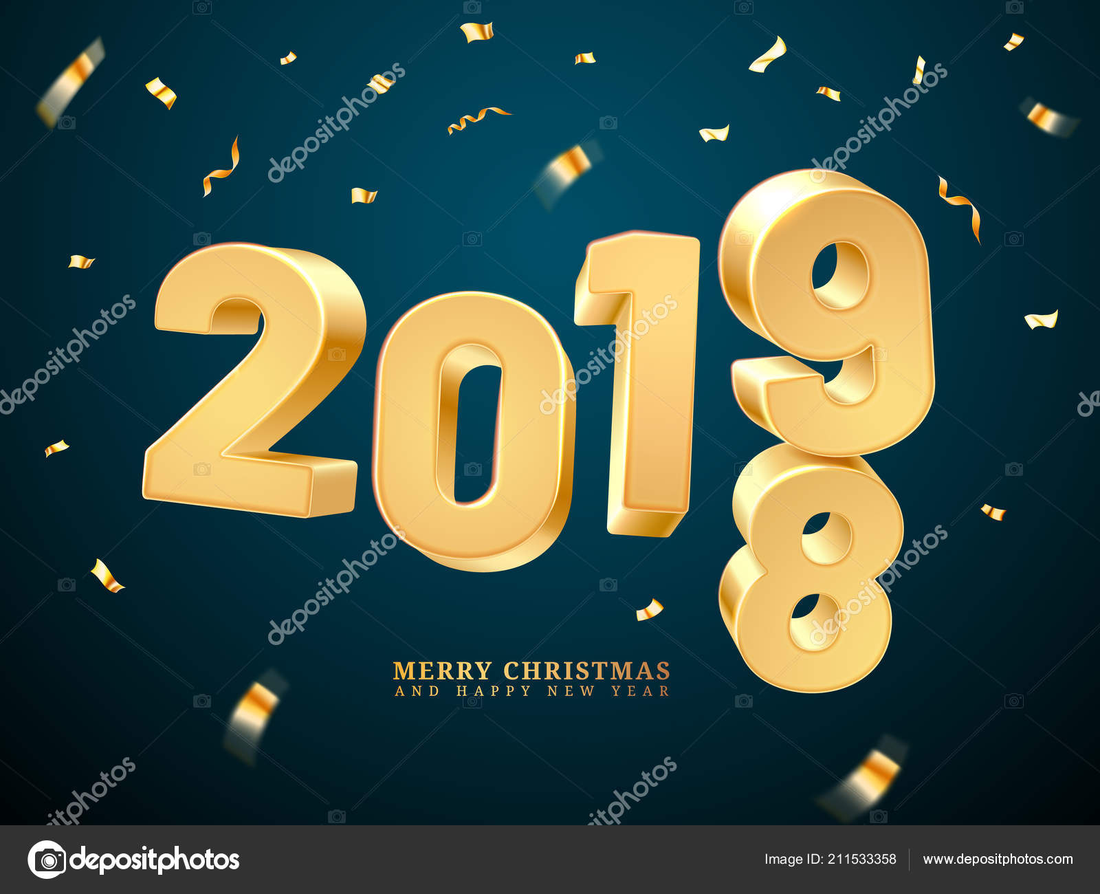 2018 2019 change represents the new year and merry christmas happy holiday and x mas eve celebration greeting postcard or december poster