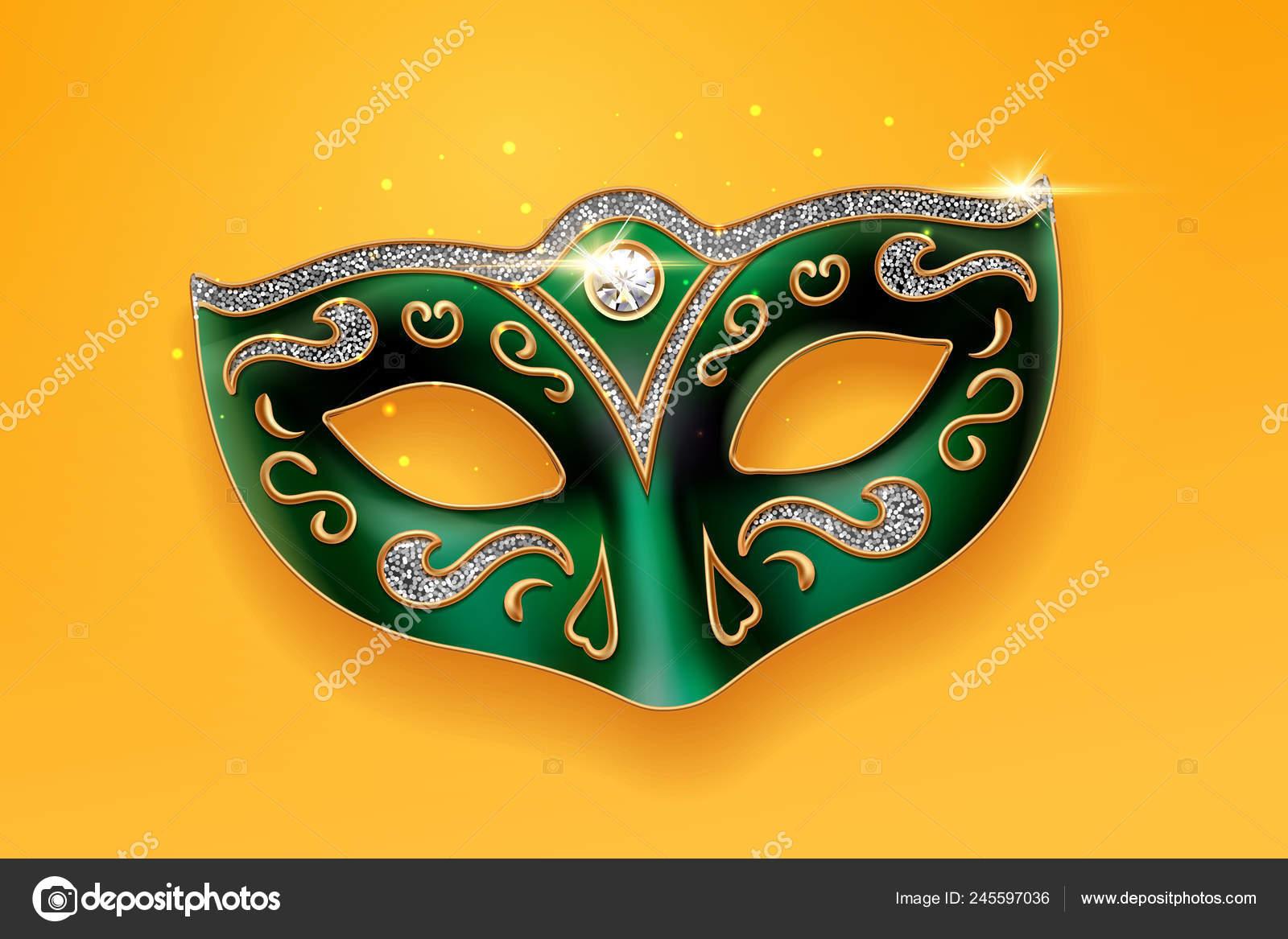 4adf6bbf8 Máscara de Colombina verde decorada con diamantes — Vector de stock ...