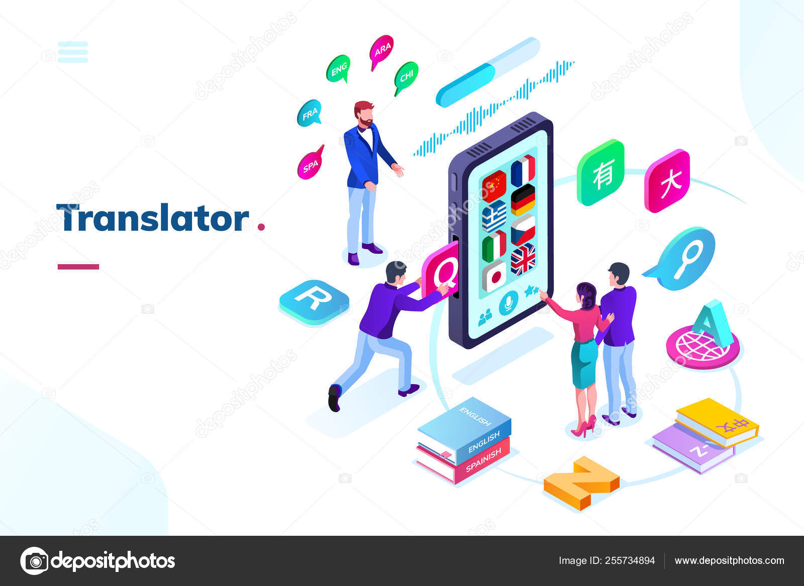 Smartphone, phone with online language translator — Stock
