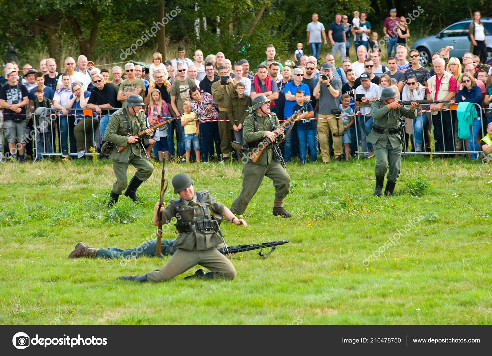 Enschede Netherlands Sept 2018 German Soldiers Fighting