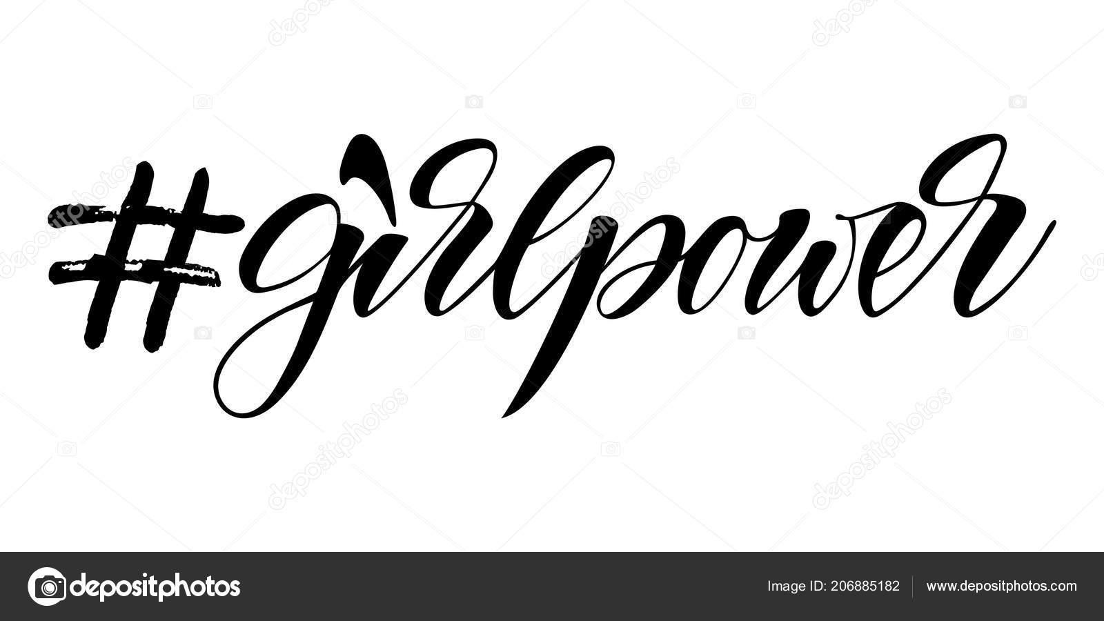 Poder Feminino Com Hashtag Vector Isolado Frase