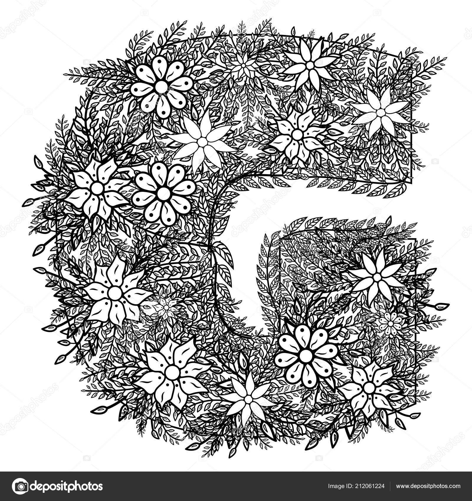 Lettre Dudling Dessin Mandala Alphabet Dans Style Dudling
