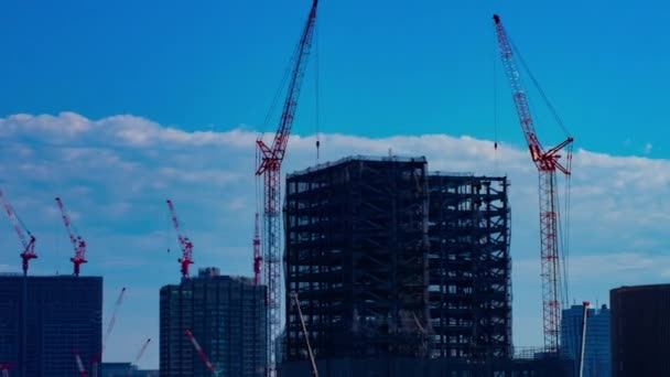 Moving cranes at the under construction time lapse