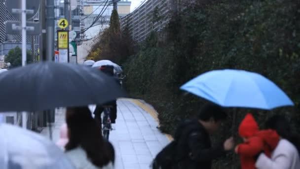 Gyaloglás az emberek testrészeit az átkelés az Shinjuku Tokyo esős napon
