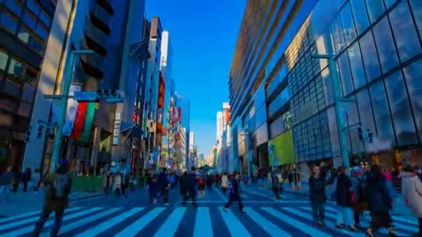 A timelapse of the city street at the downtown in Ginza Tokyo daytime wide shot