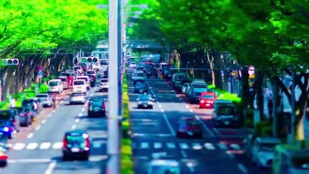 Včas miniaturní městská krajina na Omotesando avenue v Tokiu tiltshift zoom