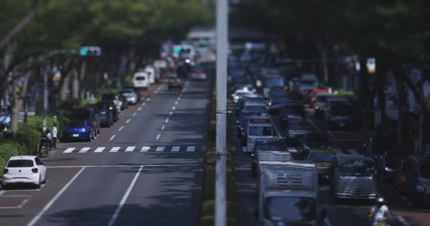 A miniature city street at Omotesando avenue in Tokyo tiltshift