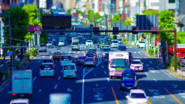 A timelapse of miniature traffic street at the downtown in Tokyo tiltshift zoom