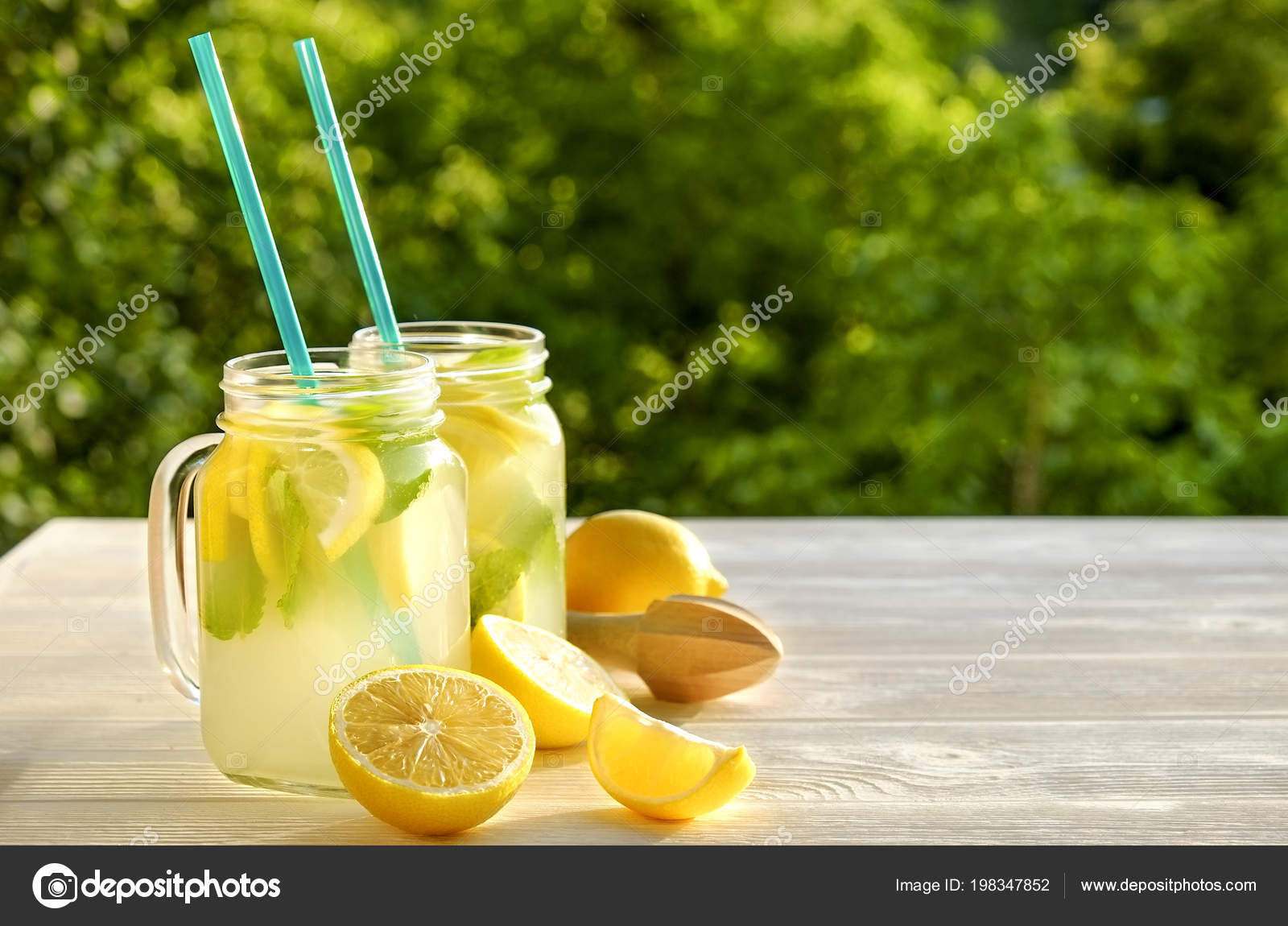 Two Mason Jar Glasses Homemade Lemonade Slices Organic Ripe Lemon Stock Photo Evrmmnt 198347852