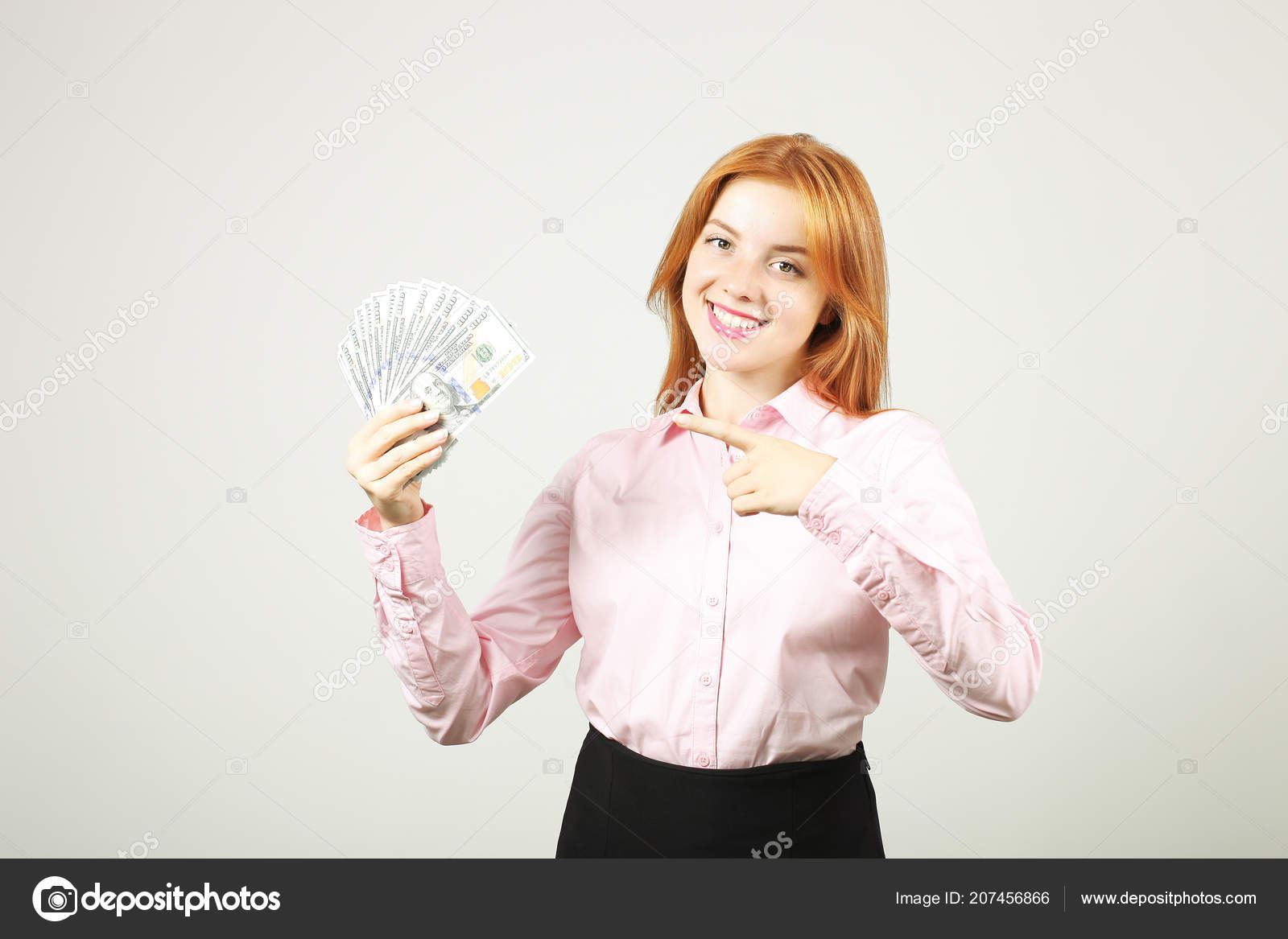 Young Beautiful Redhead Woman Pointing Index Finger Fistful Money