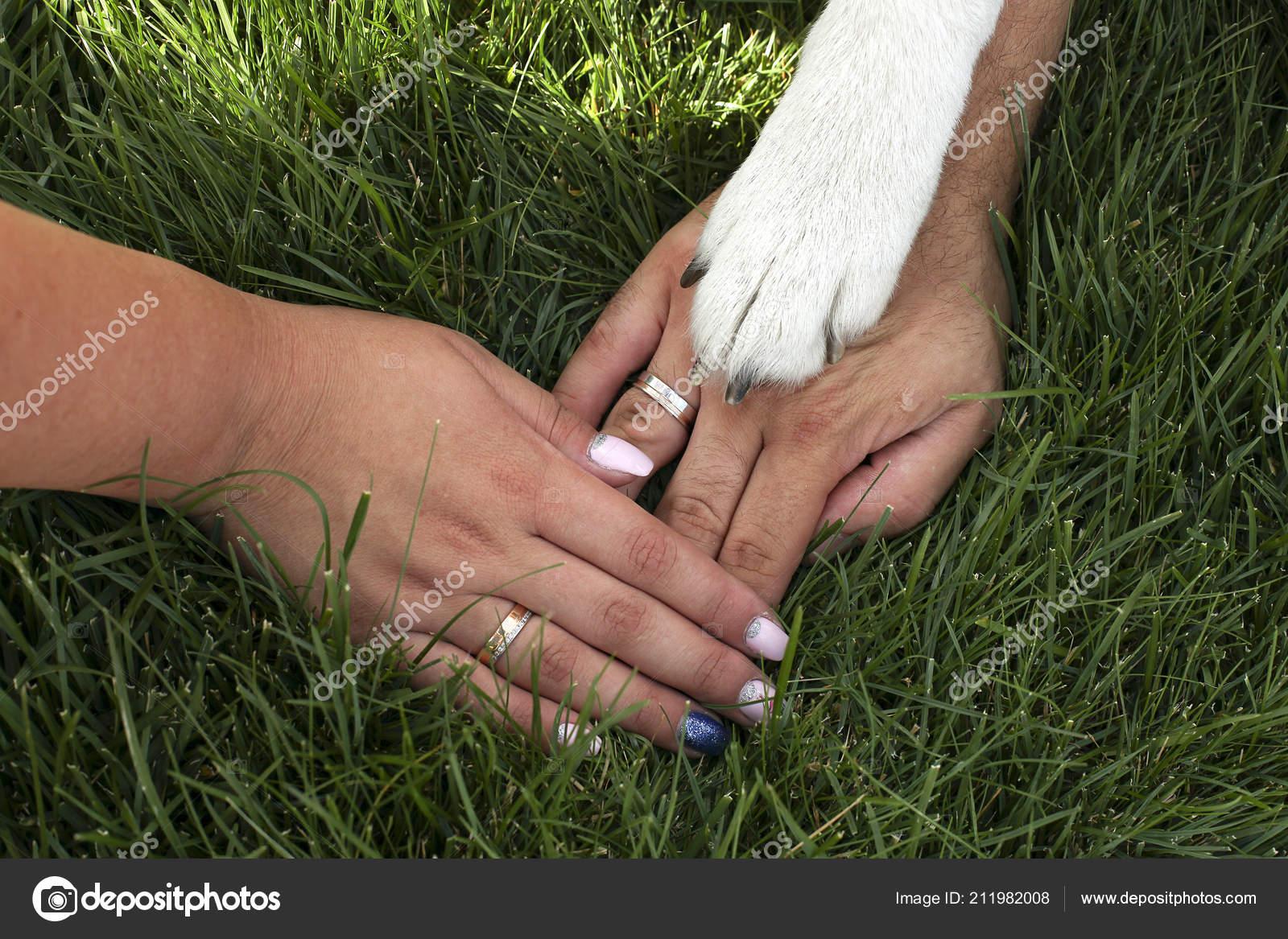 Nahaufnahme Des Ehepaar Hand Hand Mit Verlobungsringe Auf Und Ihre