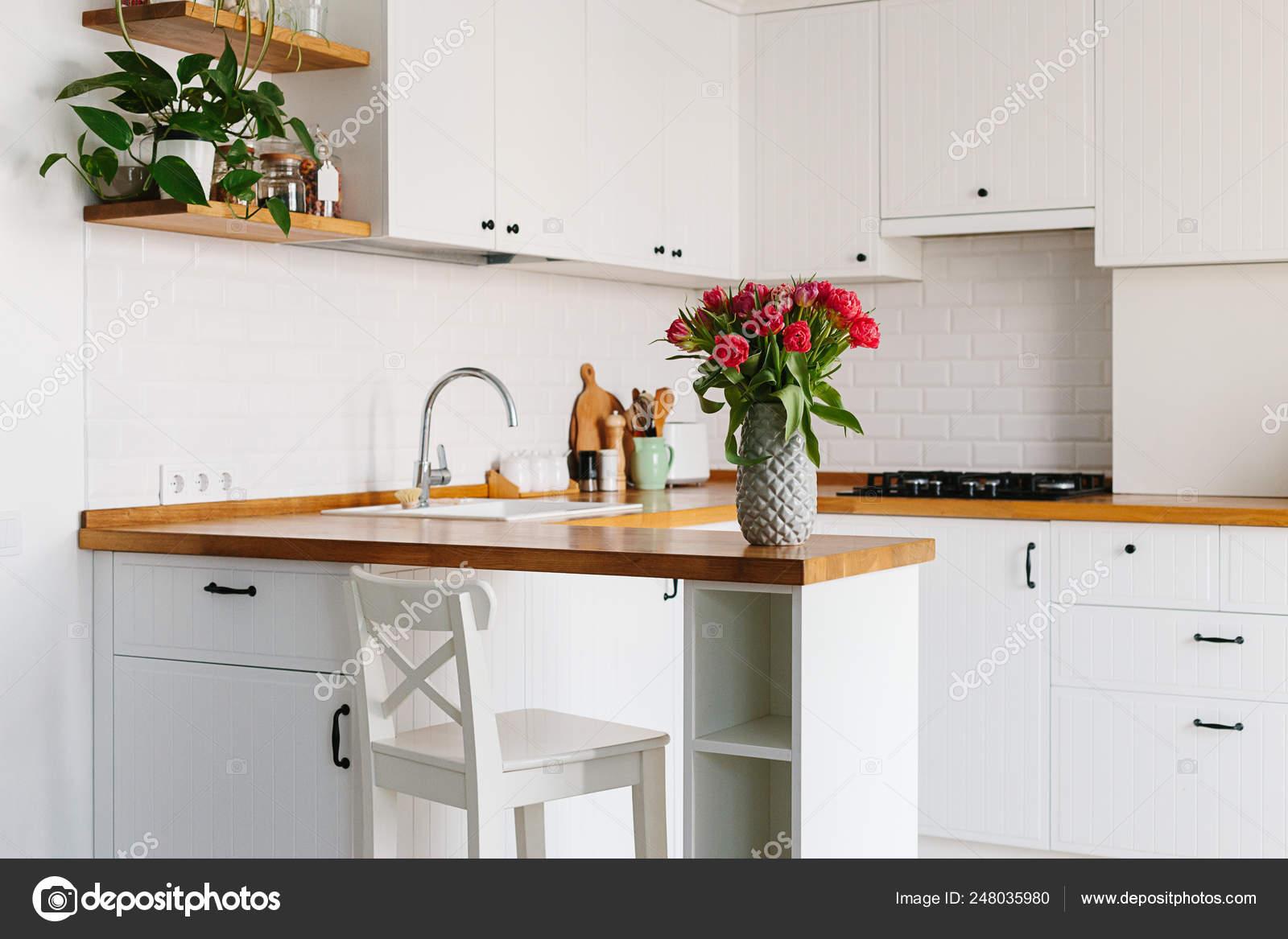 Tulips Bouquet In Vase Standing On Wooden Countertop In The Kitchen Modern White U Shaped Kitchen In Scandinavian Style Stock Photo C Switlanasymonenko 248035980,King Bedroom Furniture Sets