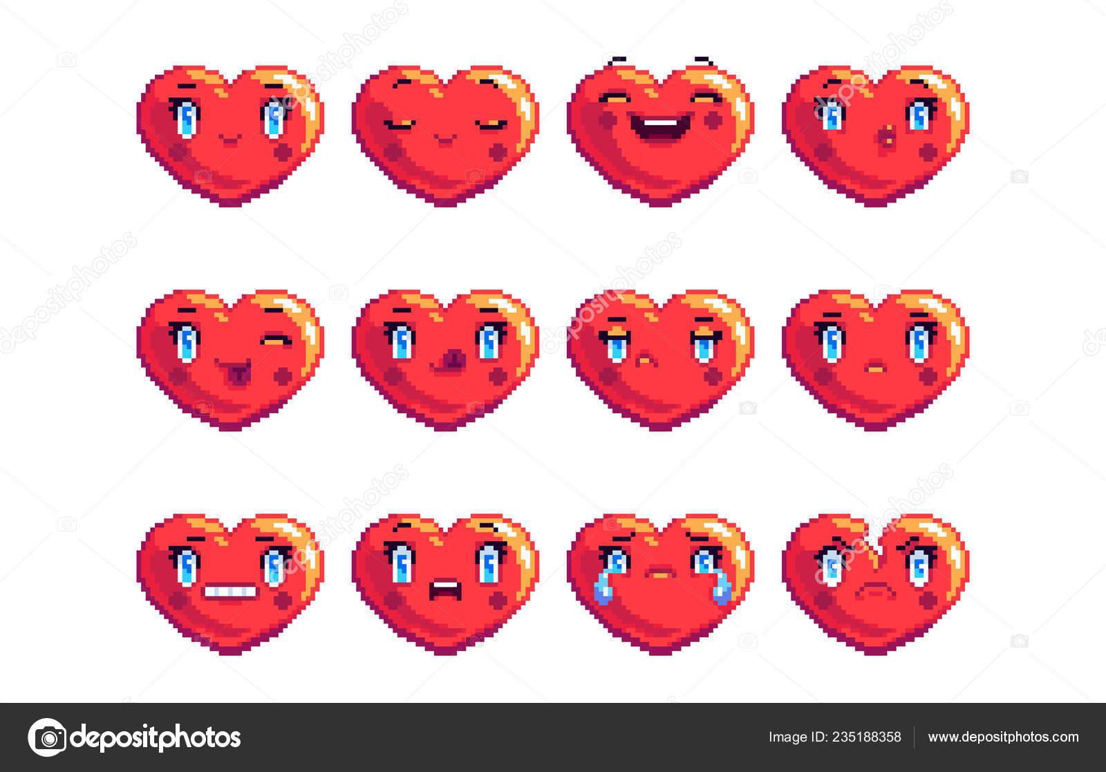 Ensemble Coeur Commun Forme Couleur Pixel Art Emoji énonce