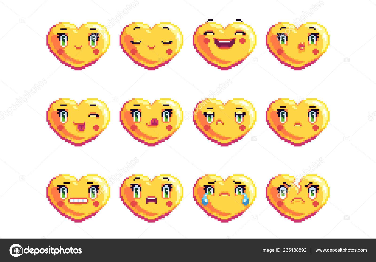 Ensemble Coeur Commun Forme Pixel Art Emoji Couleur Dorée