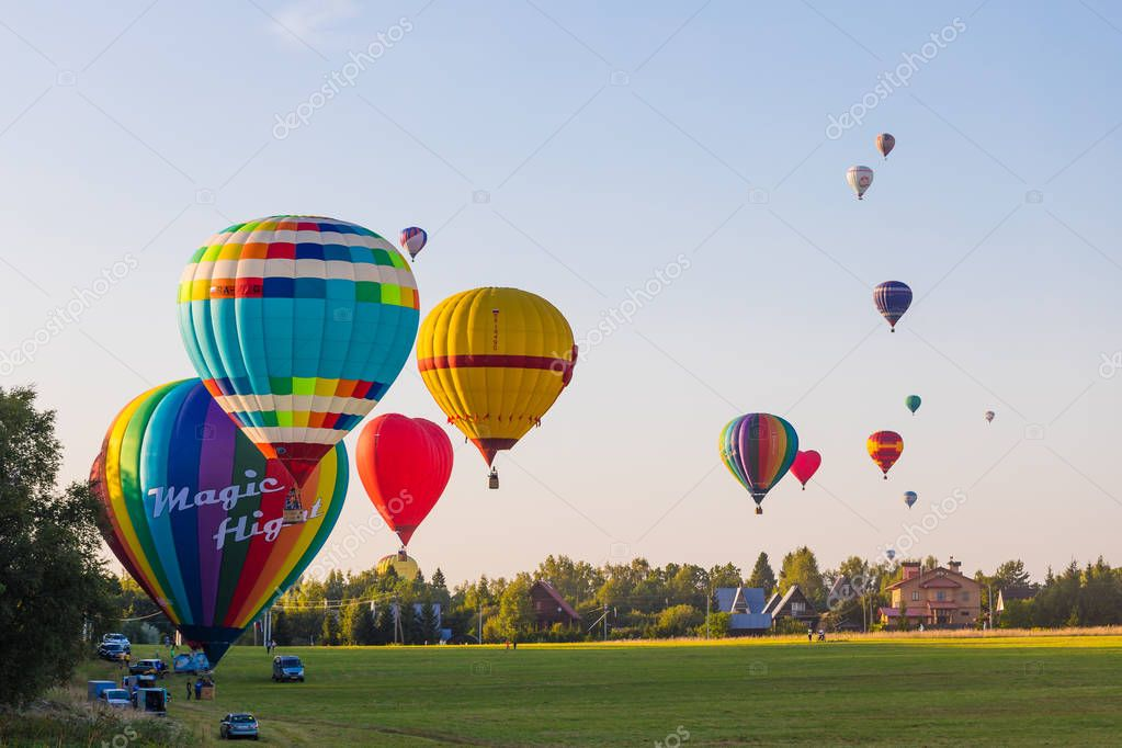 25.08.2018 - Dmitrov, Moscow Region, Russia. Preparation for colorful hot-air balloons flight over the forest
