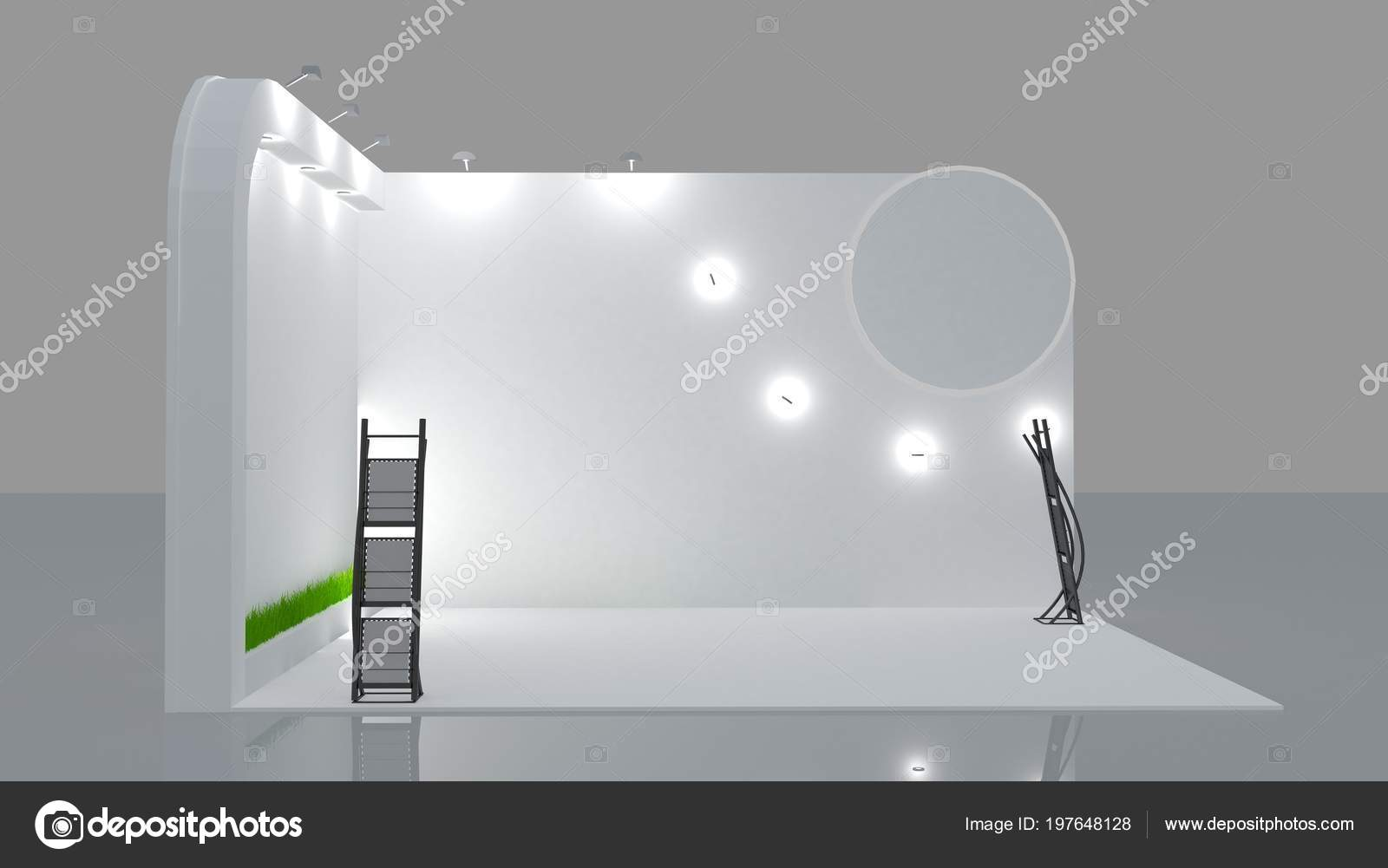 Exhibition Booth Blank : Blank white trade exhibition booth system stand for your design