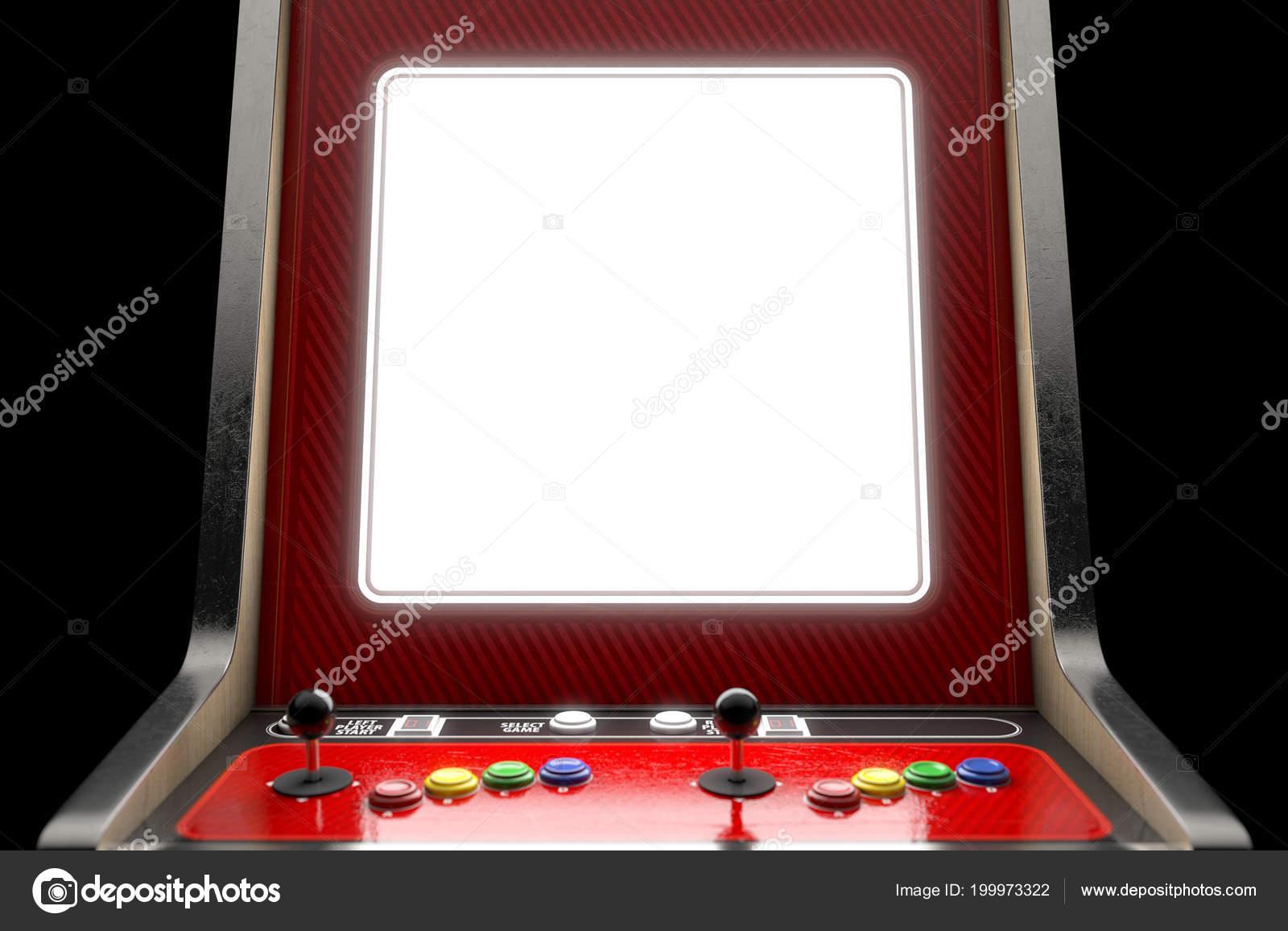 Primer Plano Una Pantalla Blanco Una Maquina Juego Arcade Clasicos