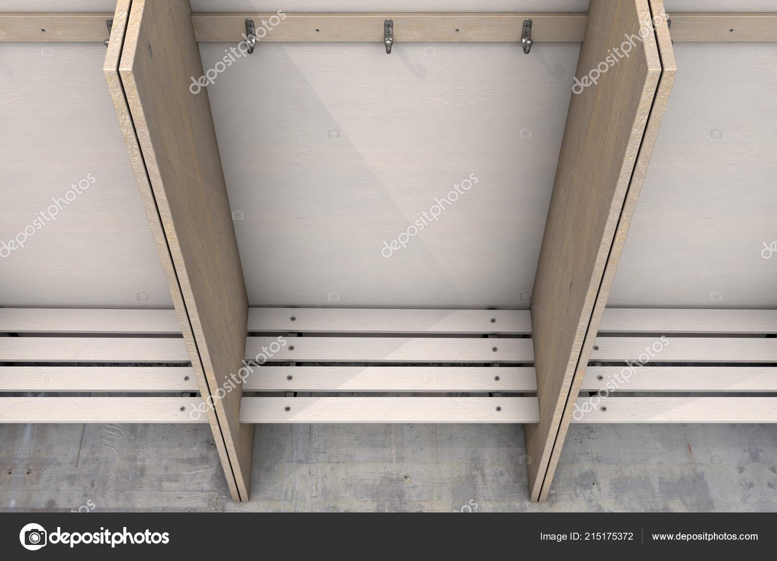 Superb Empty Wooden Cubicles Bench Hangers Rundown Sports Locker Beatyapartments Chair Design Images Beatyapartmentscom