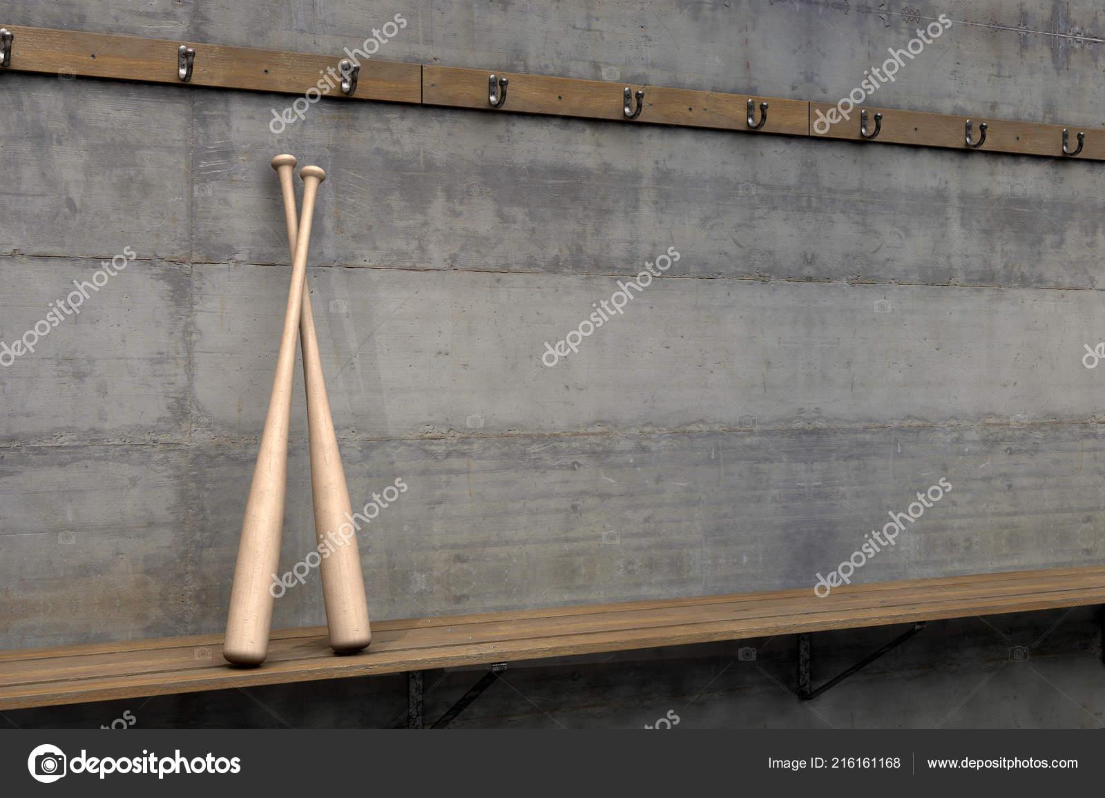 Marvelous Two Baseball Bats Wooden Bench Rundown Sports Locker Change Beatyapartments Chair Design Images Beatyapartmentscom