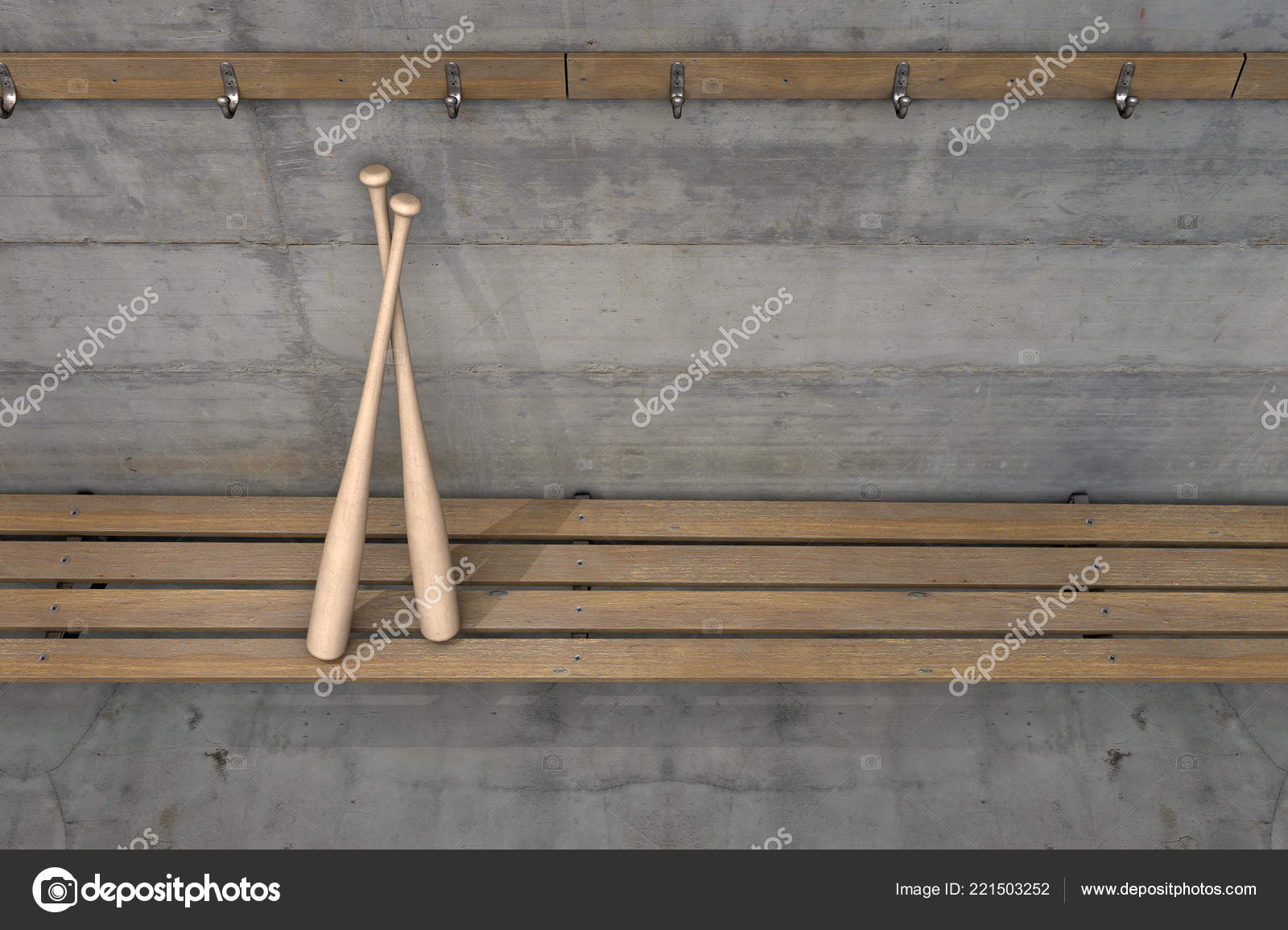 Stupendous Two Baseball Bats Wooden Bench Rundown Sports Locker Change Beatyapartments Chair Design Images Beatyapartmentscom