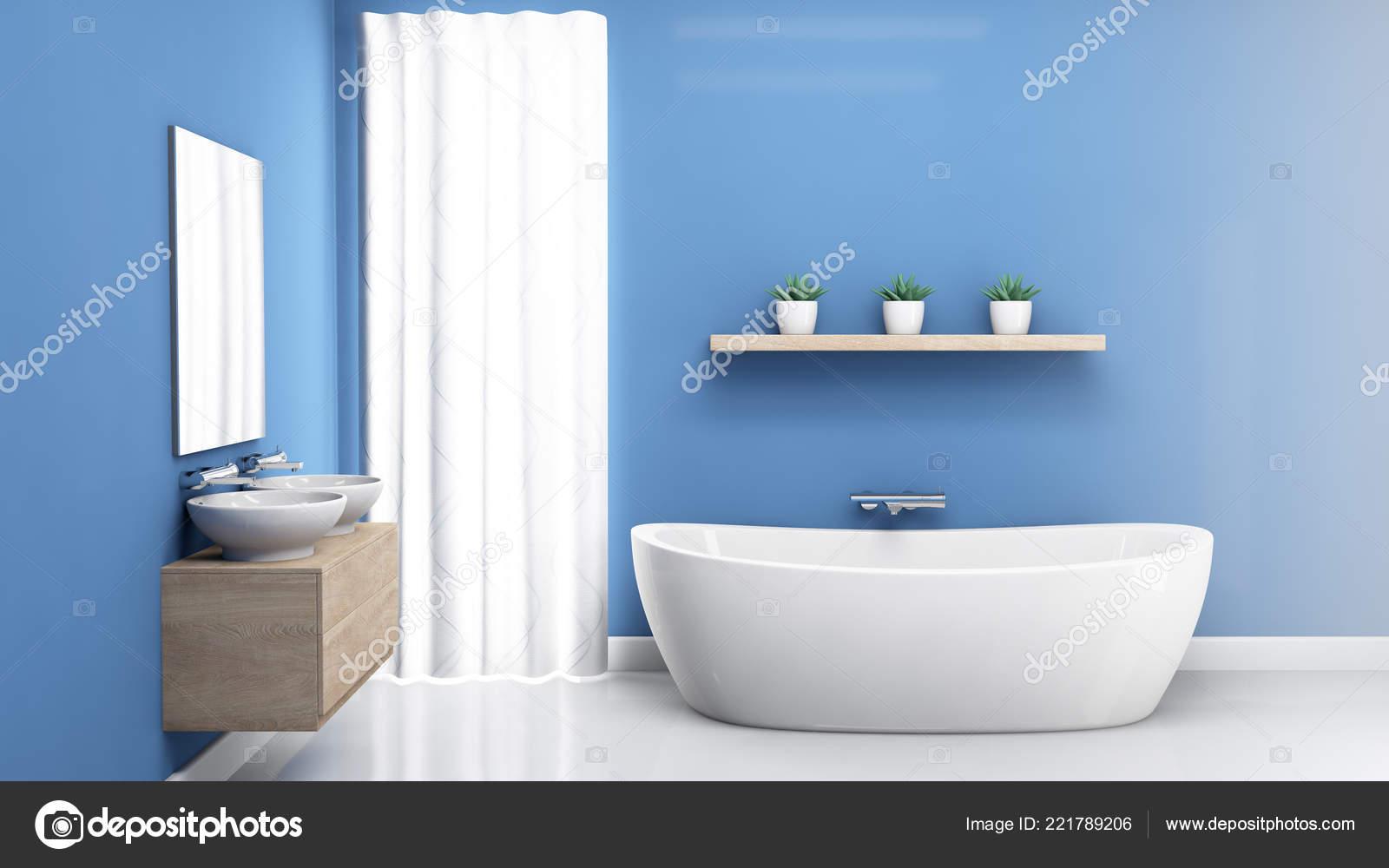 Un Intérieur Du0027une Salle De Bains Avec Le Bleu Des Murs Une Baignoire  Moderne Et Blanche Réfléchissante Planchers 3d   Rendu U2014 Image De Albund