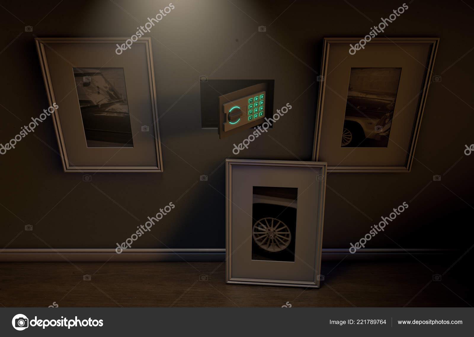 Open Hidden Wall Safe Revealed Hanging Framed Picture Flat