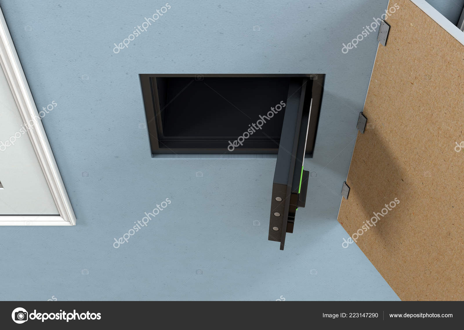 Open Hidden Wall Safe Revealed Hanging Framed Picture Flat Blue