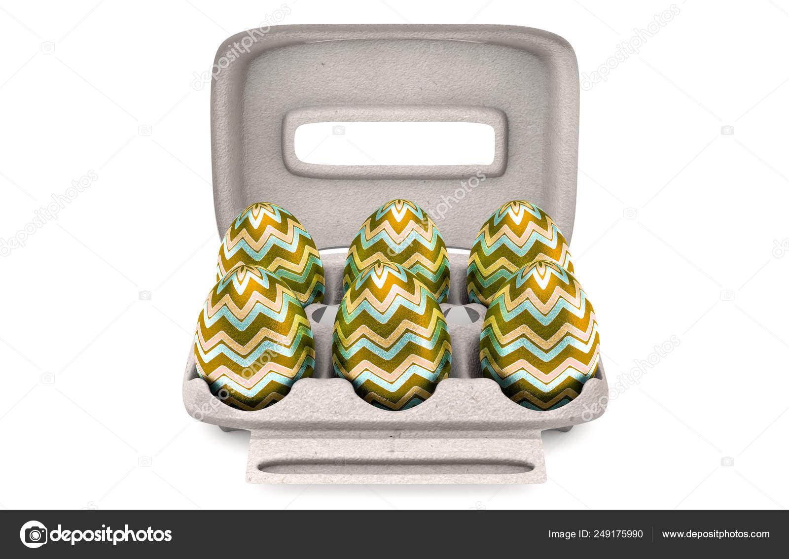 Six Easter Eggs In An Egg Carton — Stock Photo © albund