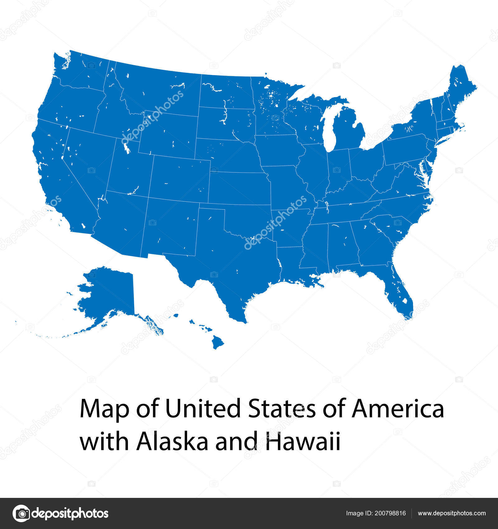 Vector Map United States America Alaska Hawaii — Stock Vector ...