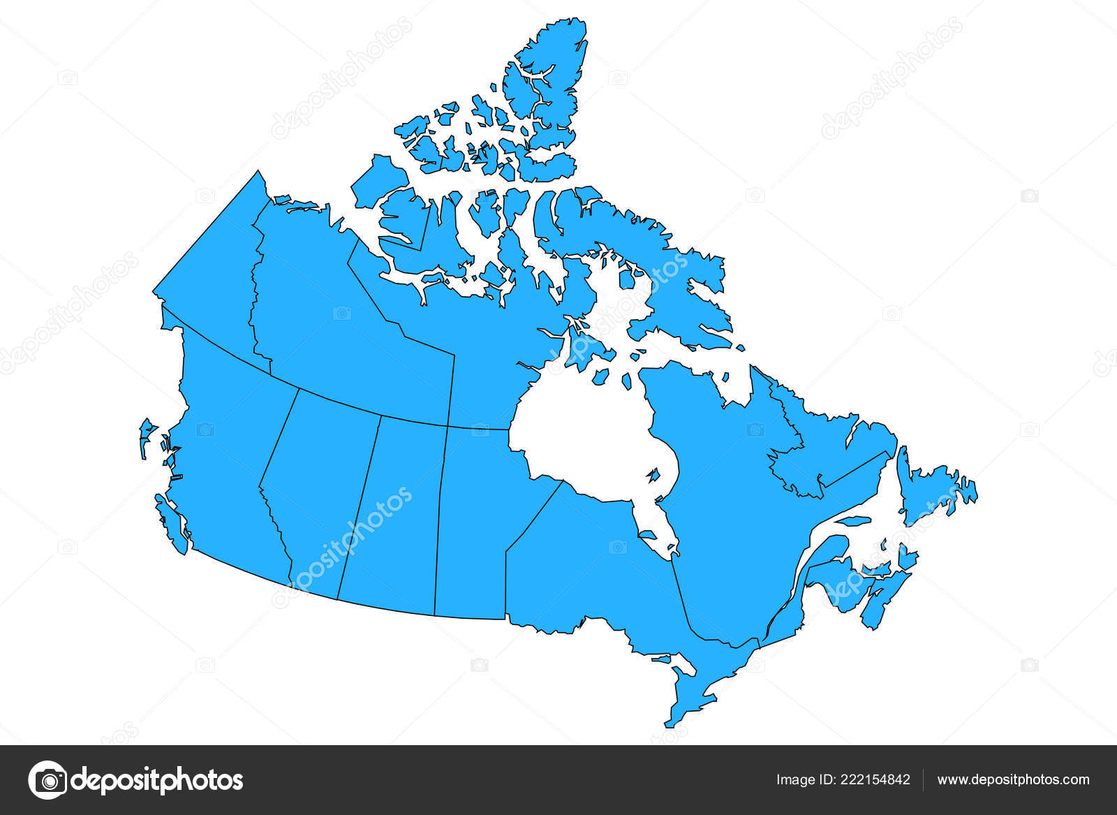 Map Of Canada With Territories.Vector Map Canada Provinces Territories Borders Stock Vector