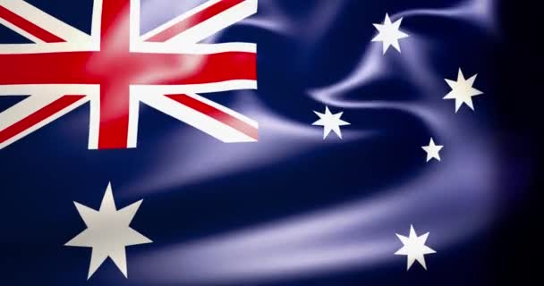 Australian flag in the wind. 4K High quality 3d rendered footage. Waving flag of Australia