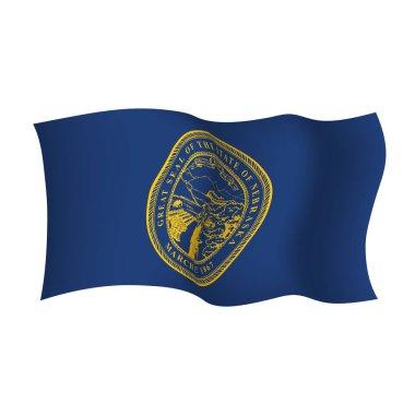 Nebraska waving vector flag. Vector illustration. United States