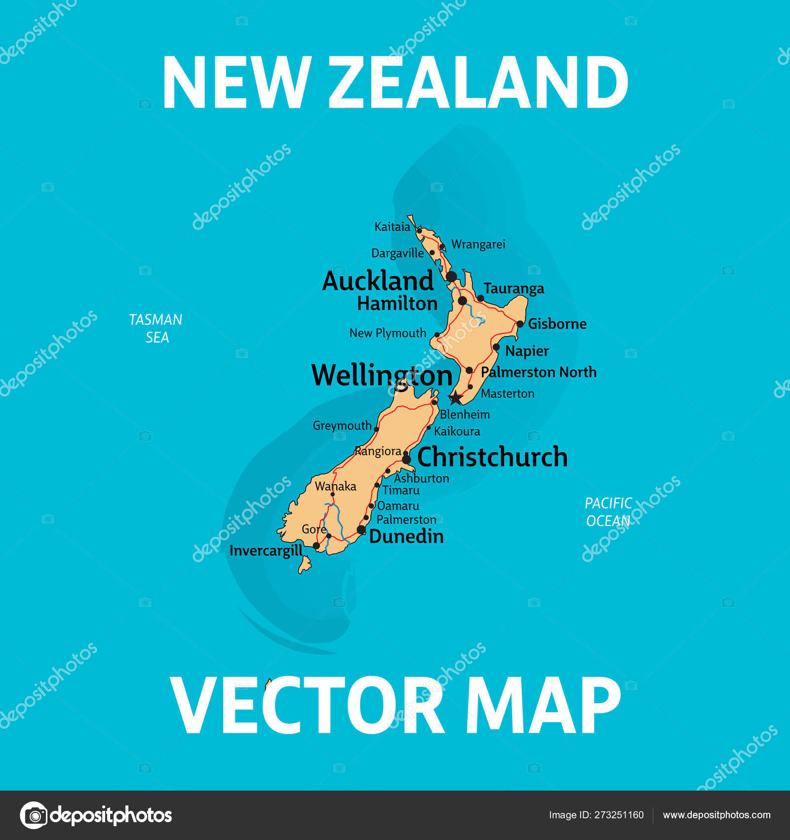 Map Of New Zealand With Cities.Vector Map Of New Zealand With Cities Rivers And Roads On Separ
