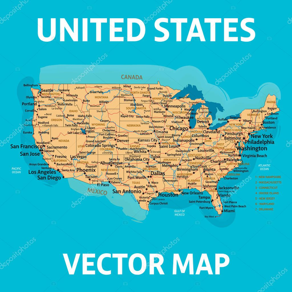 Picture of: Vector Map Of United States Of America With States Cities Rivers Lakes And Highways On Separate Layers High Quality Vector Illustration Premium Vector In Adobe Illustrator Ai Ai Format