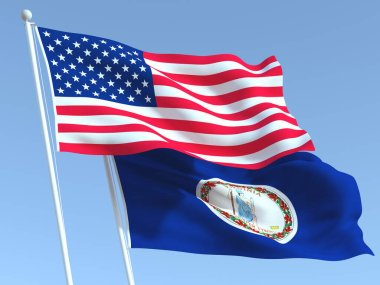 Two waving state flags of United States and Virginia state on the blue sky. High - quality business background. 3d illustration