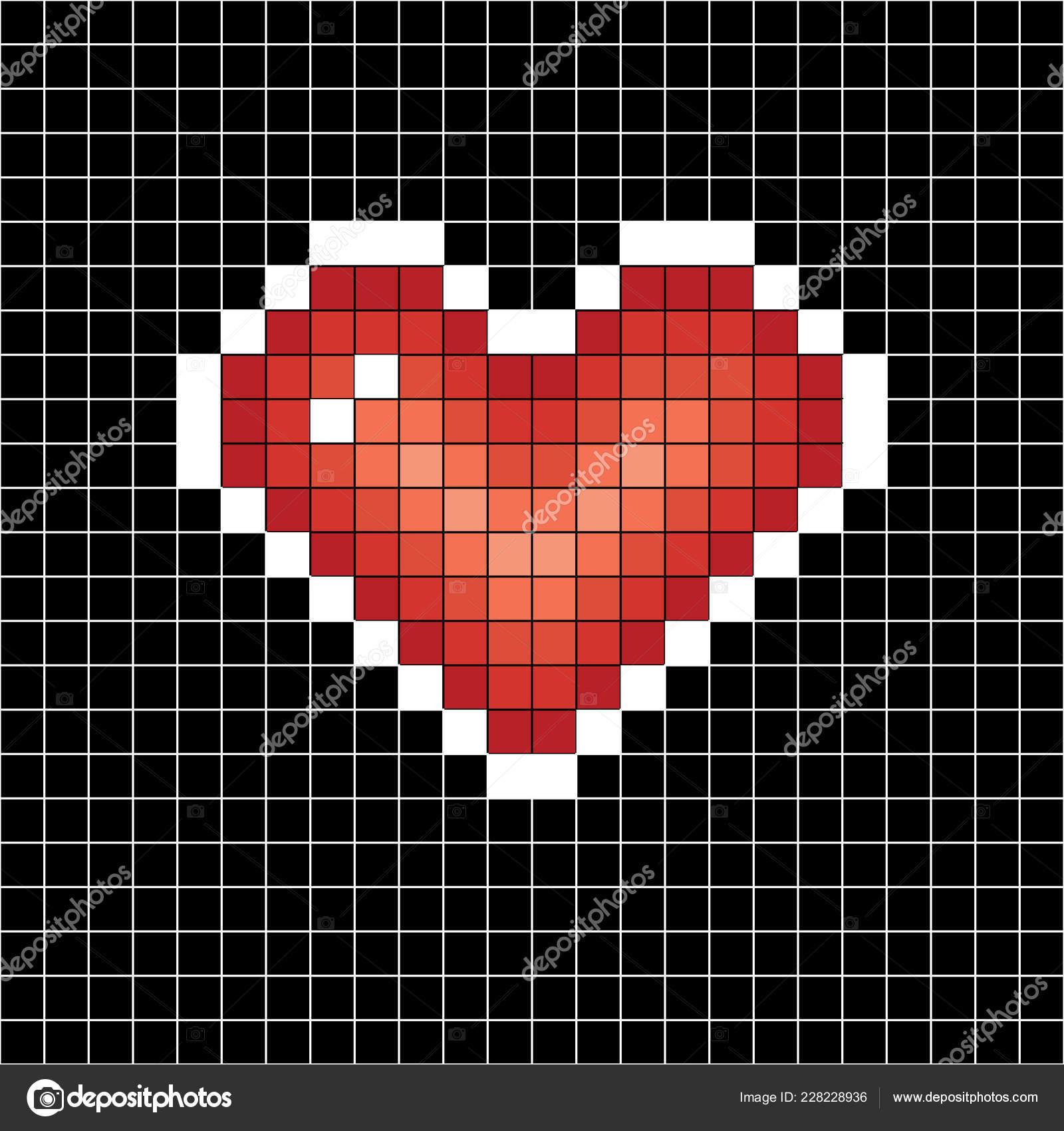 Coeur De Pixel Art Signe Damour Sur Fond Noir En Globules