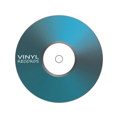 Poster of vinyl player record. Music label logo.