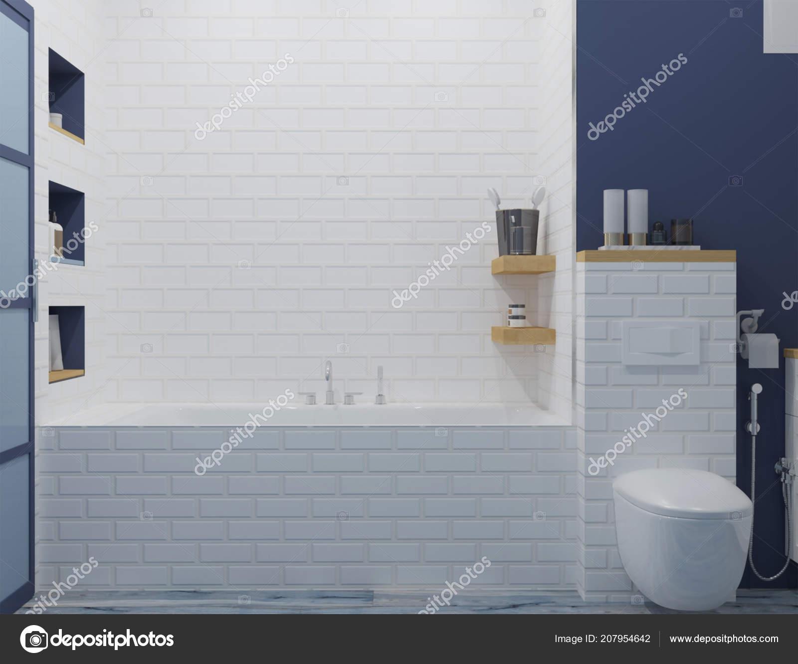 Rendu Nouvel Intérieur Salle Bain Bleu Blanc — Photographie ...