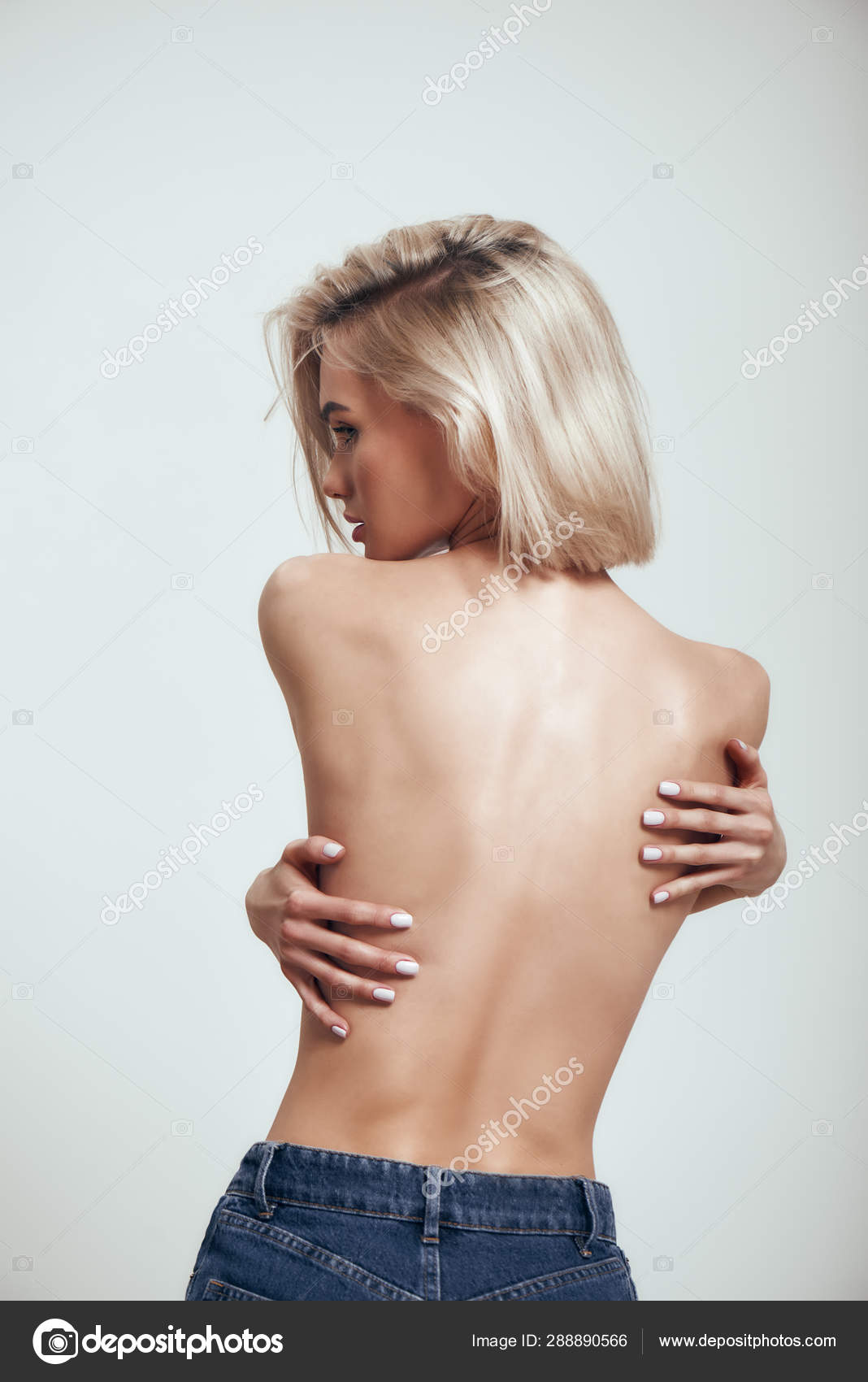 Hot girl covering naked body with hands Beautiful Body Naked Back Of Sexy Slim Woman With Blond Hair Covering Her Breast With Her Hands While Standing Against Grey Background Stock Photo By C Dima Sidelnikov 288890566