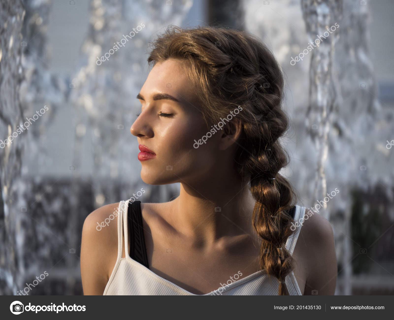 Close Portrait Sexy Beautiful Girl Fountain Summer Fashion Look Lady
