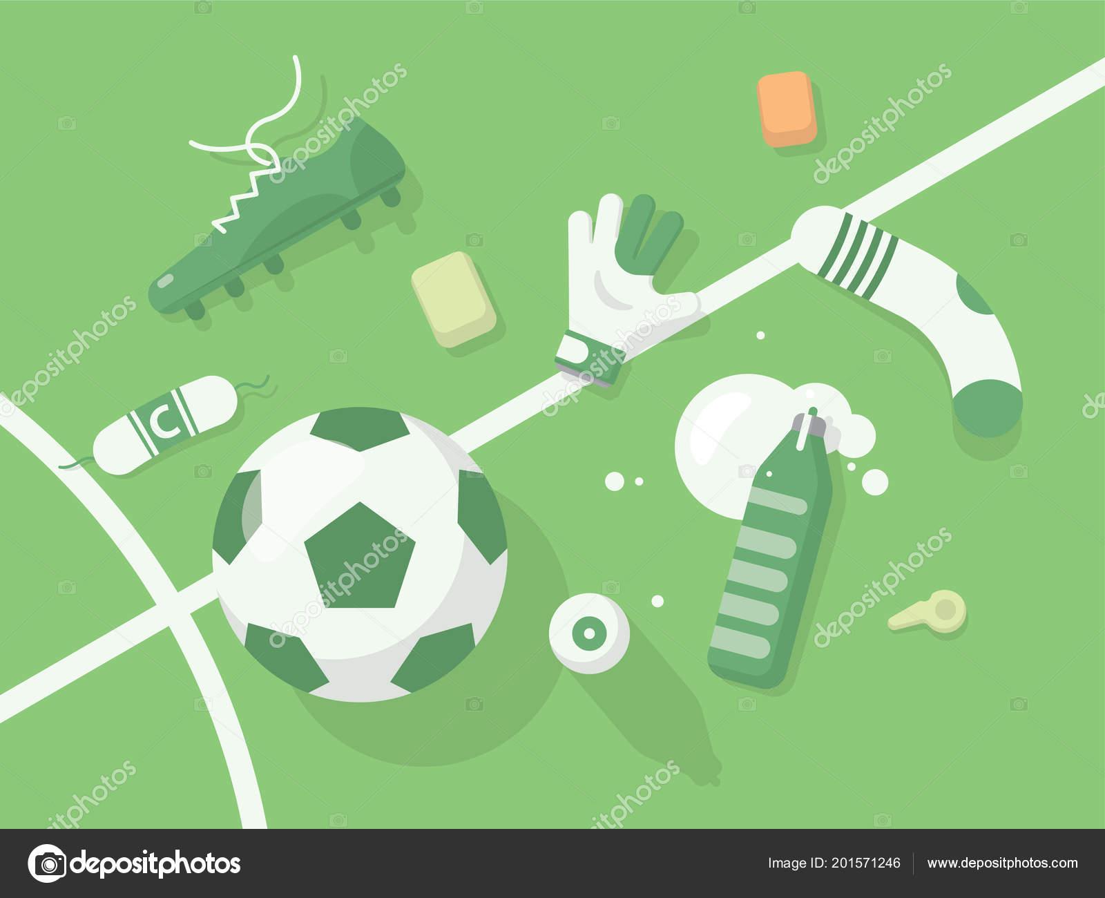 90978ce09 Football Soccer Background Sport Equipment Monochrome Green Illuminated  Field Sport — Stock Vector