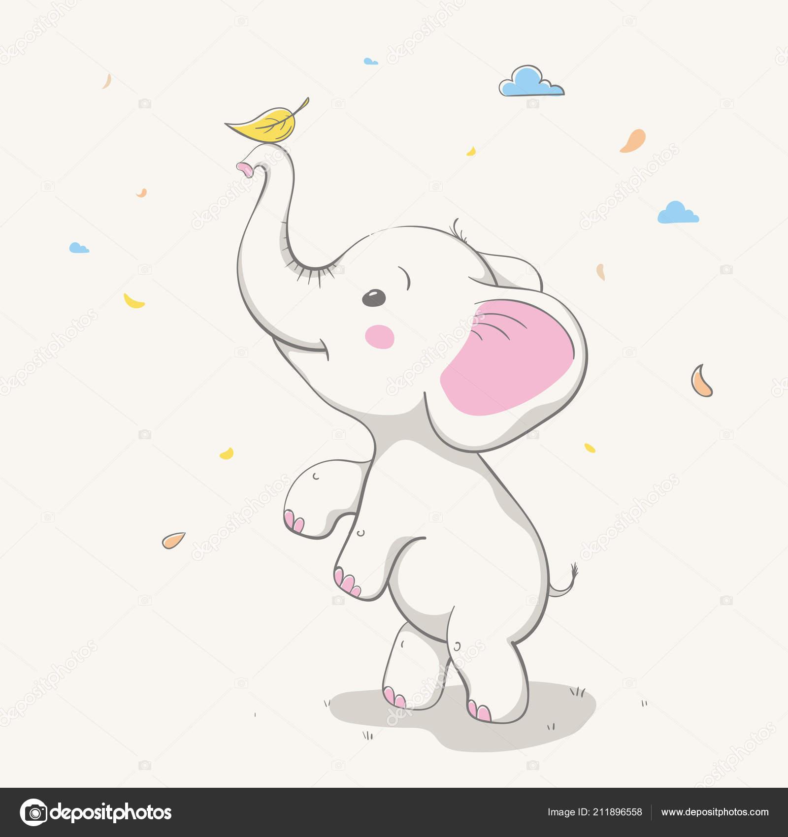 Joli éléphant Jouant Avec Feuille Jaune Carte Avec Animaux