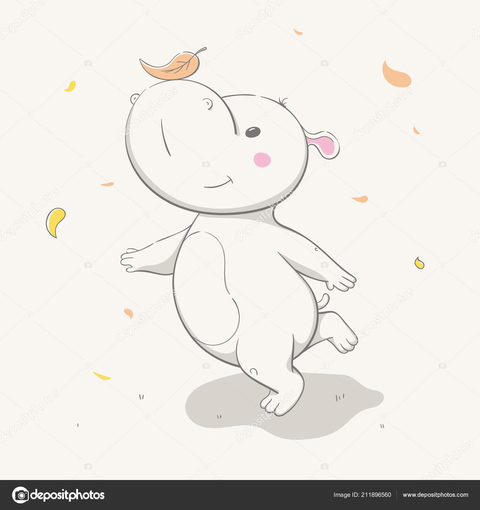 Lovely Cute Hippo Runs Leaf Nose Autumn Cartoon Animal Easy Stock