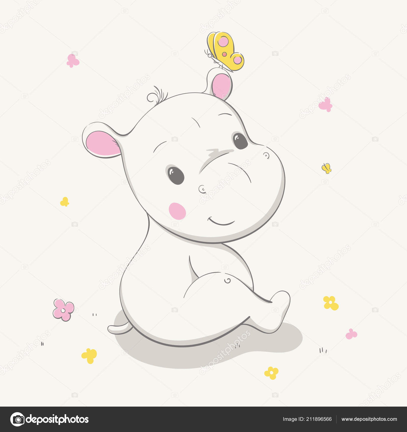 Lovely Cute Hippo Sits Clearing Butterfly Ear Card Cartoon Animal