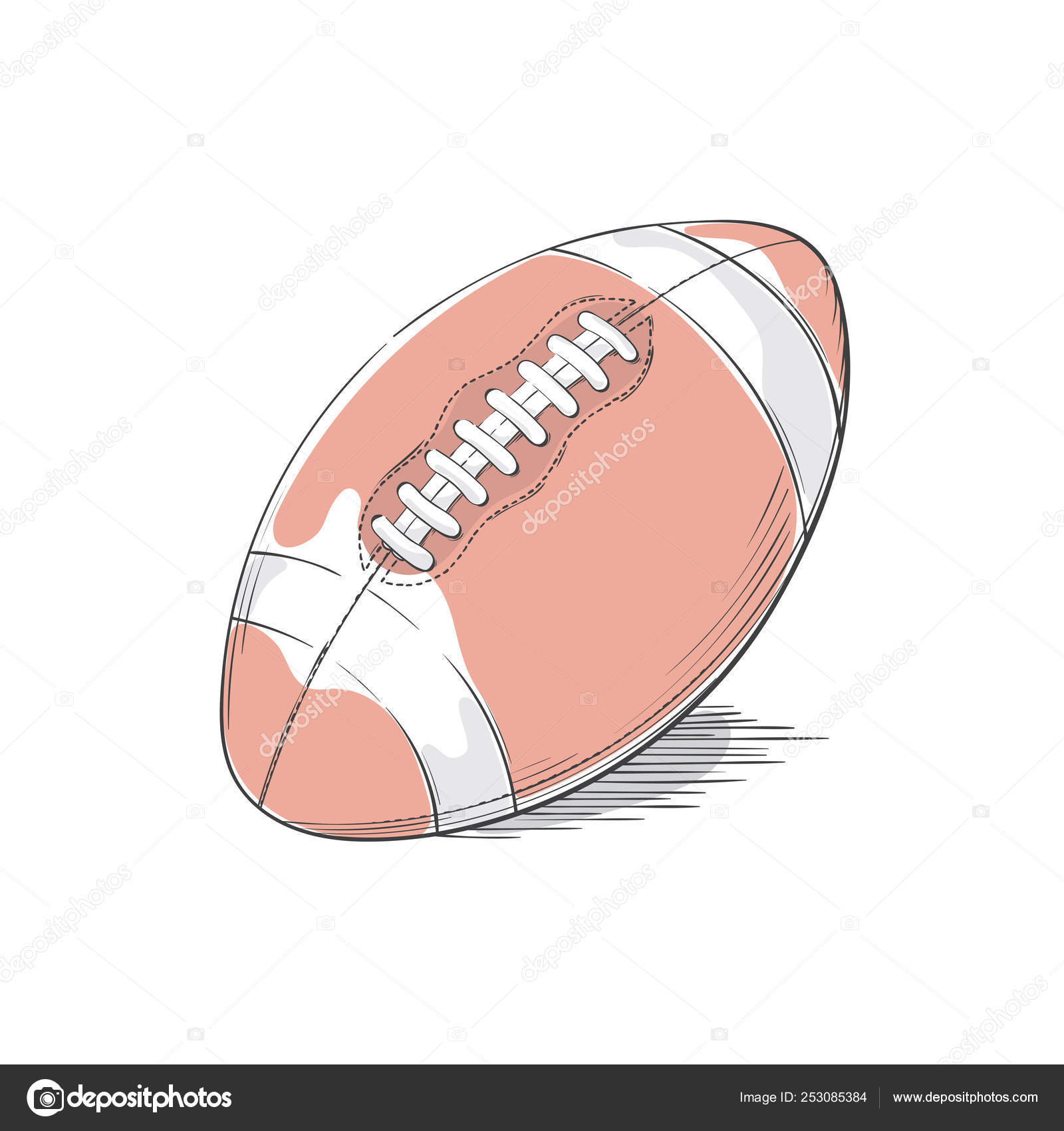 American Football Or Rugby Ball Equipment Leather Sporting Item With Stitches Stock Vector C Nychytalyuk 253085384